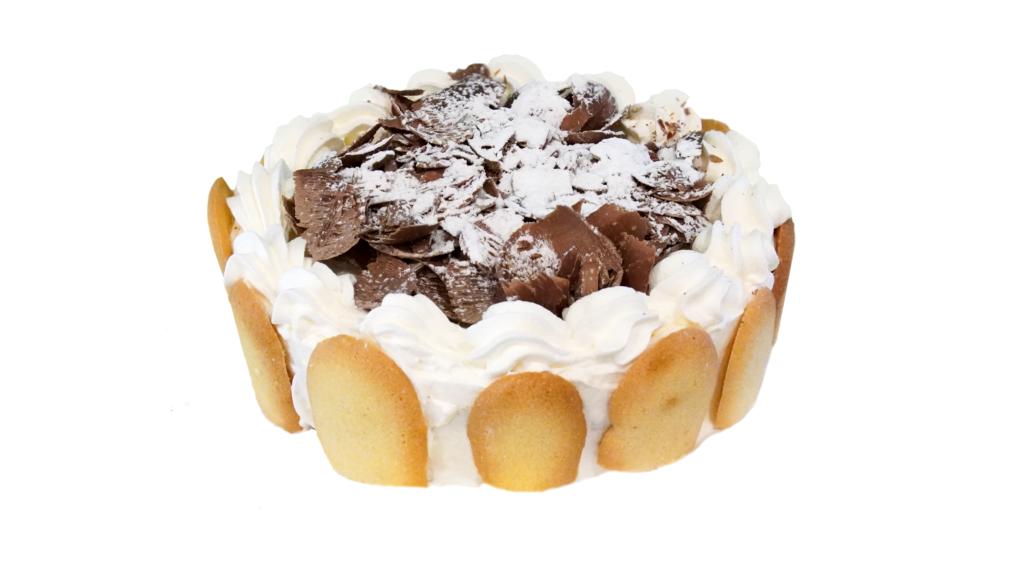 Semifreddo al cioccolato: pan di Spagna farcito al cioccolato con panna e una spirale di cioccolato fondente. 4-6-8 persone e su ordinazione anche dimensioni superiori